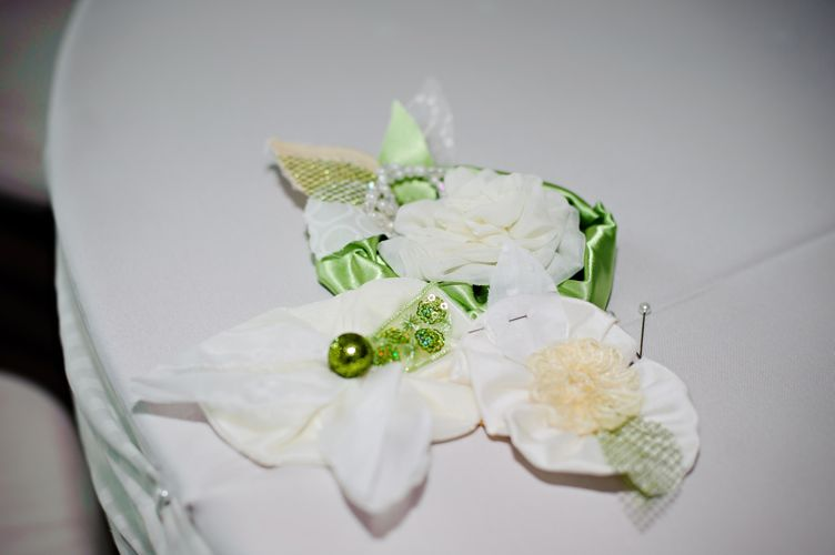 white and green fabric flowers