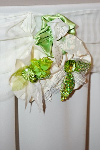 Green and white fabric flowers