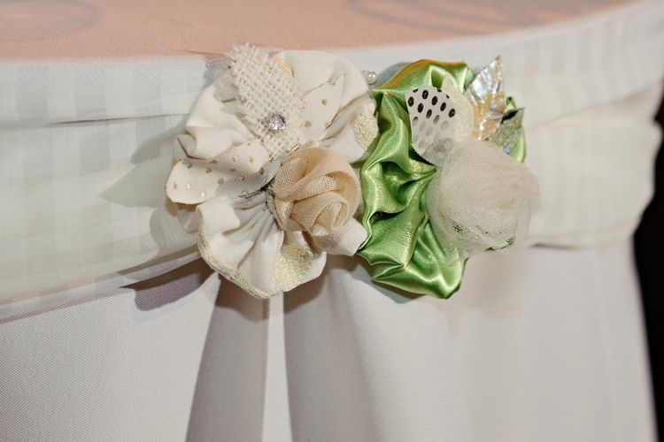 Fabric Flowers white and green